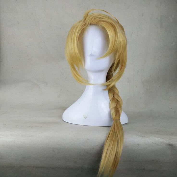 HAIRJOY 80cm Anime Fullmetal Alchemist Edward Elric  Braided Long Blonde Cosplay Wigs Synthetic Hair  Harajuku Costume Wig