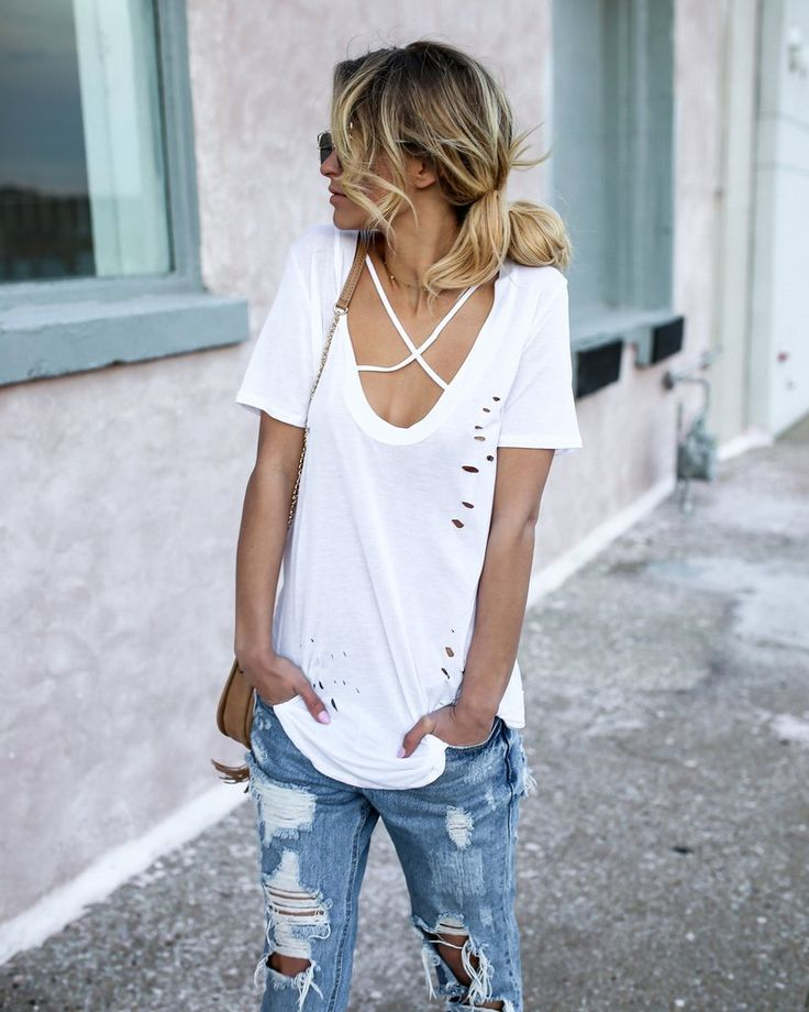 Distressed Criss Cross Tee - White