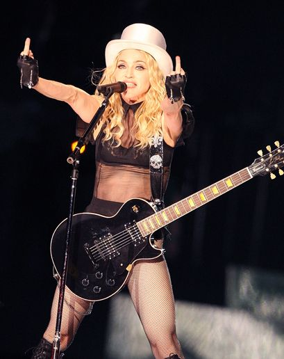 GQ.com: Madonna (2008)   Some have argued that Madonna should be upset that M.I.A detracted from Madonna's performance, but she was just following in the footsteps of a master. (With more practice, perhaps M.I.A. can do two at once.) .