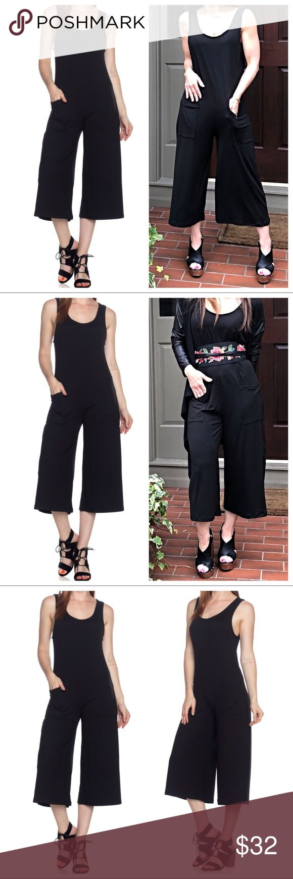 Black palazzo jumpsuit with pockets Black wide leg palazzo jumpsuit with front pockets Bust measurements laying flat on one side S 18 M 19 L 19.5 length S 48 M 49 L 49.5 Pants Jumpsuits & Rompers