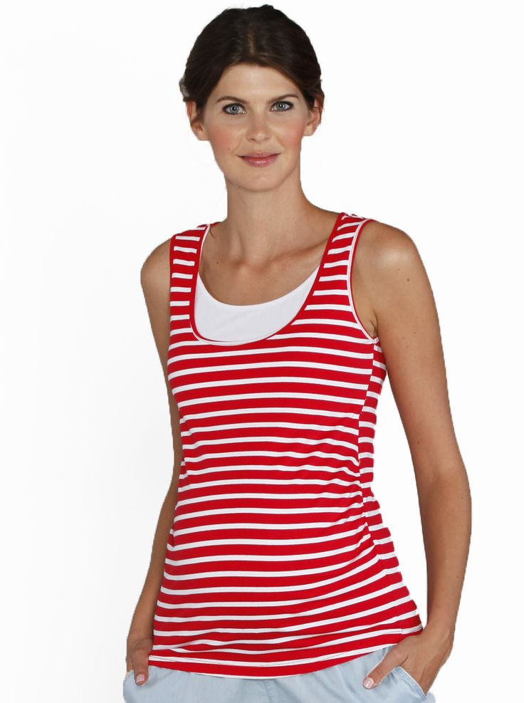Maternity Basic Nursing Tank in Red Stripe, $34.95, is a great singlet for the warmer weather with easy breastfeeding access.