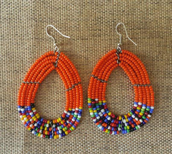 Beaded Masaai Bead Earrings colorful beaded by KaribuAfrica