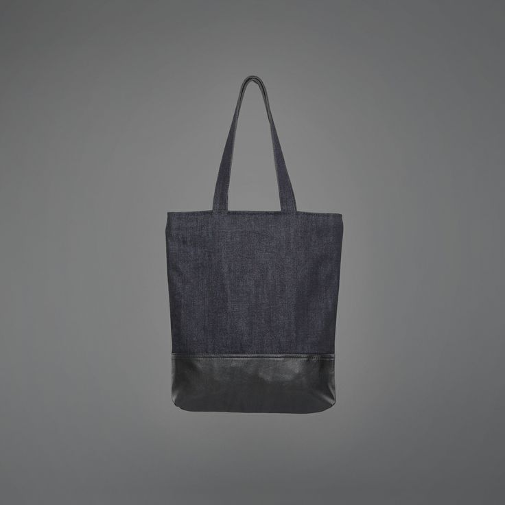 Susan Tote Bag - denim & recycled leather http://ervinlatimer.com/product/susan-tote-bag