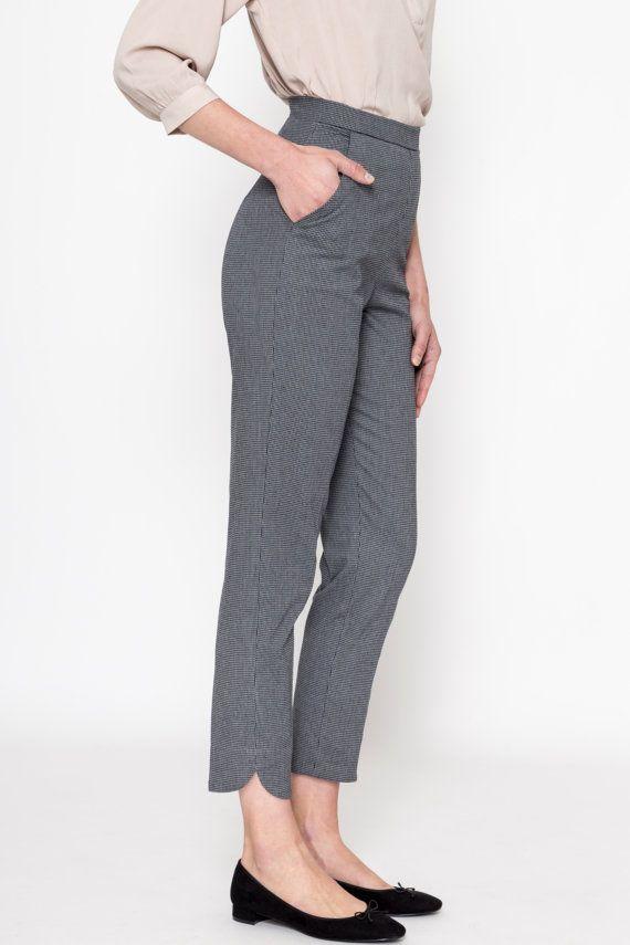 Cigarette Pants (Pied-De-Poule) / High Waisted Pants / Slim Fit Pants / 60's Pants / Retro Pants / Vintage Pants