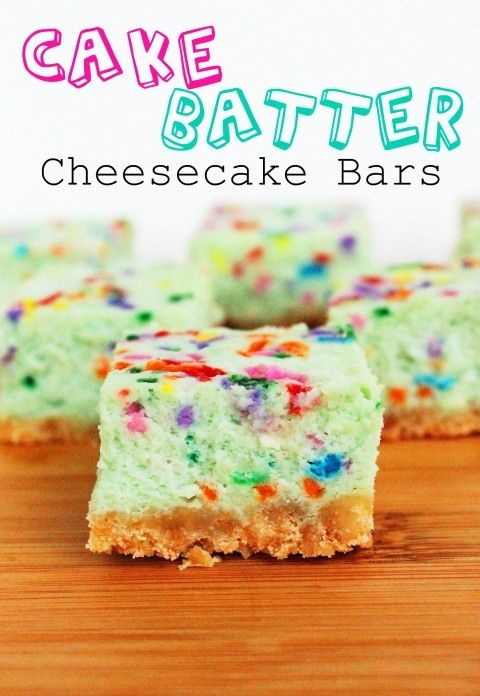 """Cake Batter Cheesecake Bars    """"Boxed Funfetti cake and cheesecake are two of my all-time favorite desserts, so I figured it was about time to combine the two. The result? A sweet, creamy, colorful cheesecake bar filled with all the flavors of Funfetti cake! Yum!""""    Ingredients:    1 ¾ cups vanilla cookie crumbs (I used Nilla wafers, but any"""