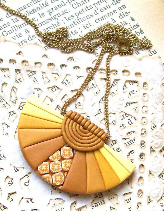 Good morning sunshine semi-circle polymer clay fan pendant necklace sunny yellow orange mosaic wedding bride necklace