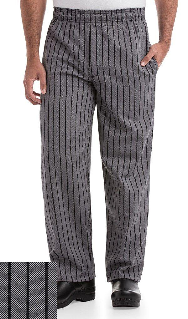 Black/Grey Chevron Pant, Striped Chef Pants - chefuniforms.com -