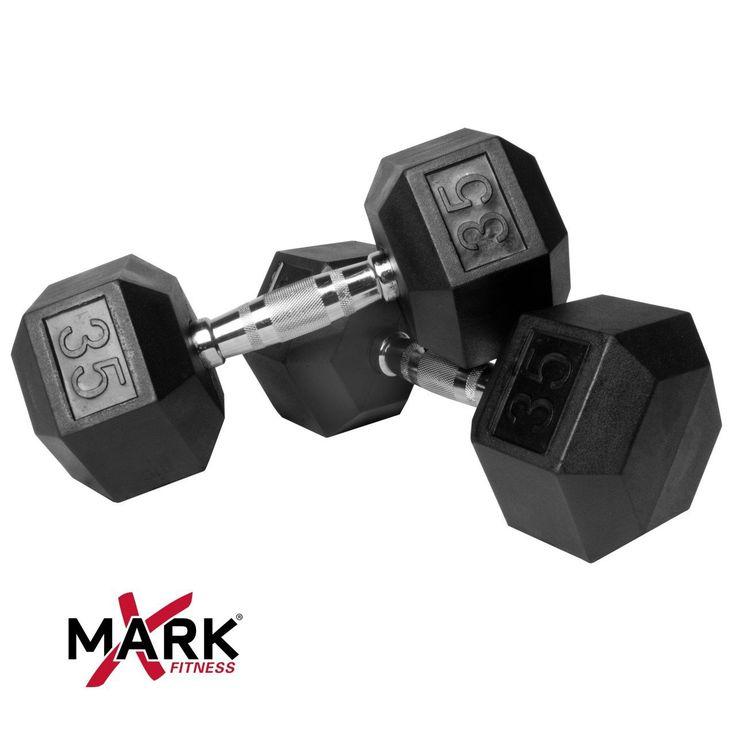 XMark Pair of 35 lb. Rubber Hex Dumbbells