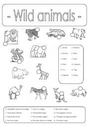 english worksheet wild animals number and colour. Black Bedroom Furniture Sets. Home Design Ideas