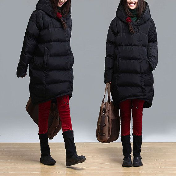 black hooded long sleeve long thick cottonpadded jacket от Aolo, $124.00