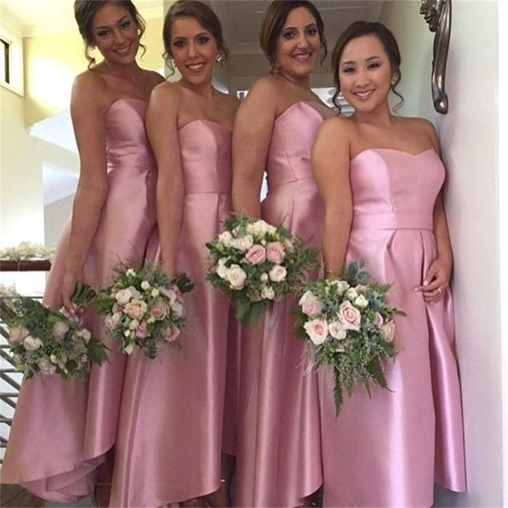Fashion Cheap Plus Size Bridesmaid Dresses 2015 Strapless Ankle Length Satin Pink Party Dresses For Wedding Customized Long Formal Dresses Online with $67.73/Piece on Hjklp88's Store | DHgate.com