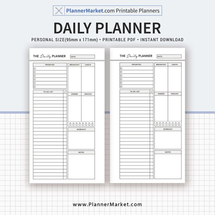 Daily planner 2020 planner personal size inserts
