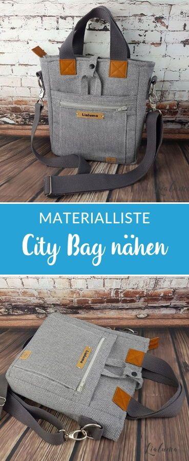 Praktische City Tasche nähen mit passender Materialliste #snaply #schnittmuster…