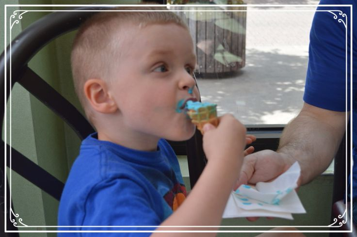 Max Chowing Down on a Blue Cotton Candy Ice Cream Cone from Marble Slab Creamery in Branson MO