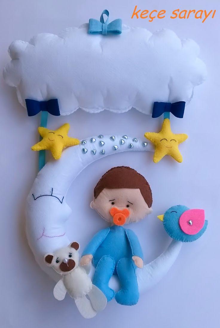 Keçe ay bulut yıldız kuş ayı erkek bebek