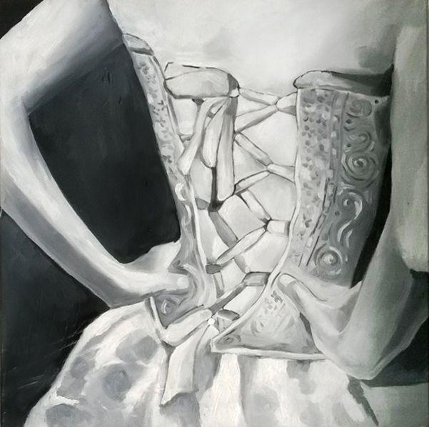 Gorset -  czarno-biały. Obraz akrylowy na płótnie. #malarstwo_akrylowe #obraz_akrylowy #impast