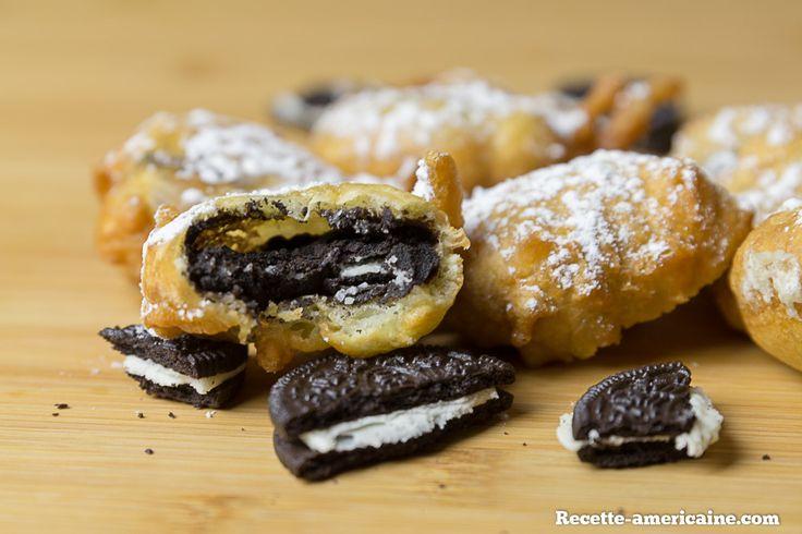 Oréos frits (petits gâteaux au chocolat fourrés à la crème)