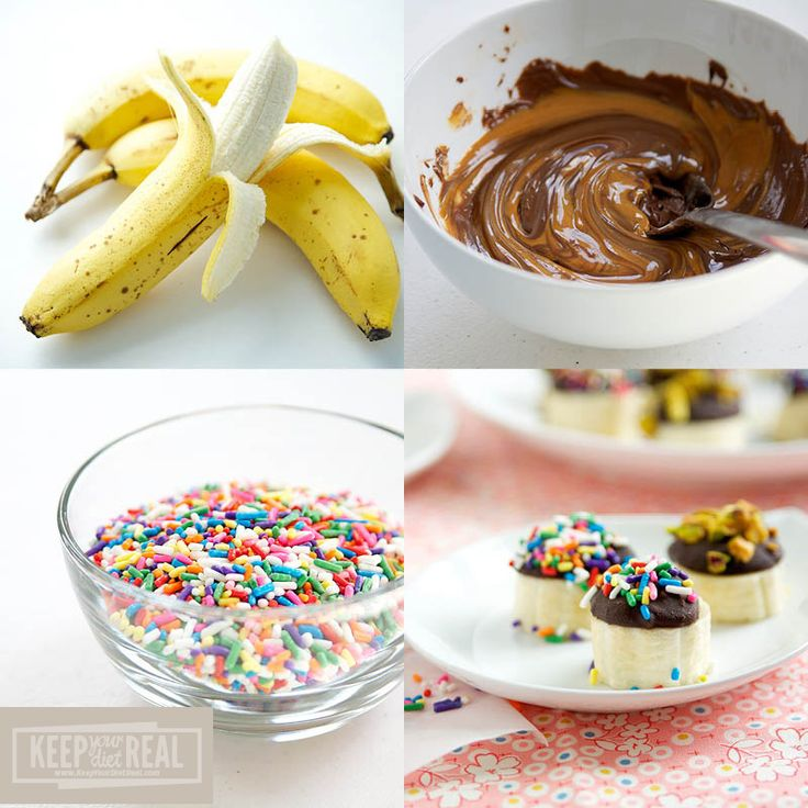 Banana Bites- I would try putting a toothpick into frozen banana chunks, then dipping into chocolate peanut butter mixture and bowl of sprinkles. I think the chocolate would freeze to it and it would be faster than carefully placing the chocolate mixture on top.