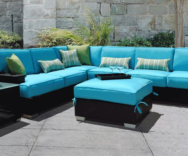 Resin Wicker Patio Furniture Sets Sofa Blue For Outdoor Patio