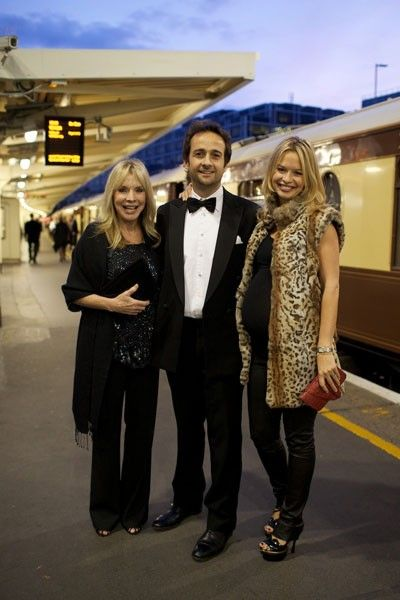 LONDON, ENGLAND - SEPTEMBER 15 2011, Marissa and Matt Hermer and Trudy Anshutz attend the Global Party on the Orient Express.