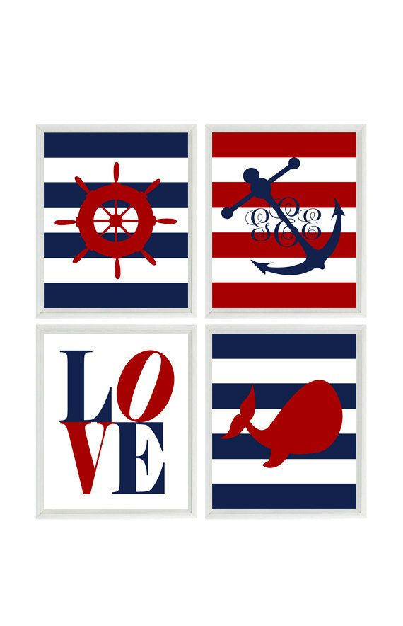 Nautical Nursery Wall Art, Baby Boy Nursery, Personalized Nursery Prints, Monogram Anchor, Navy Blue Red, Nautical Stripes, Love Print    Set of 4