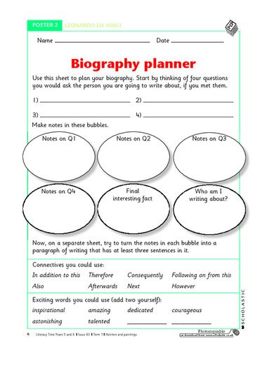 questions to ask when writing a biography ks2