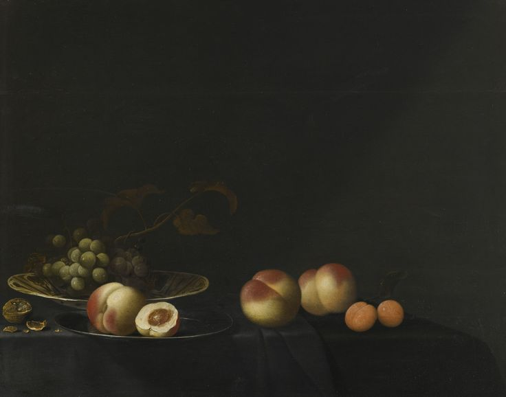1643 - Aelst, an der Evert - Still life of grapes, peaches, apricots and walnut,  all upon a table draped in a dark fabric