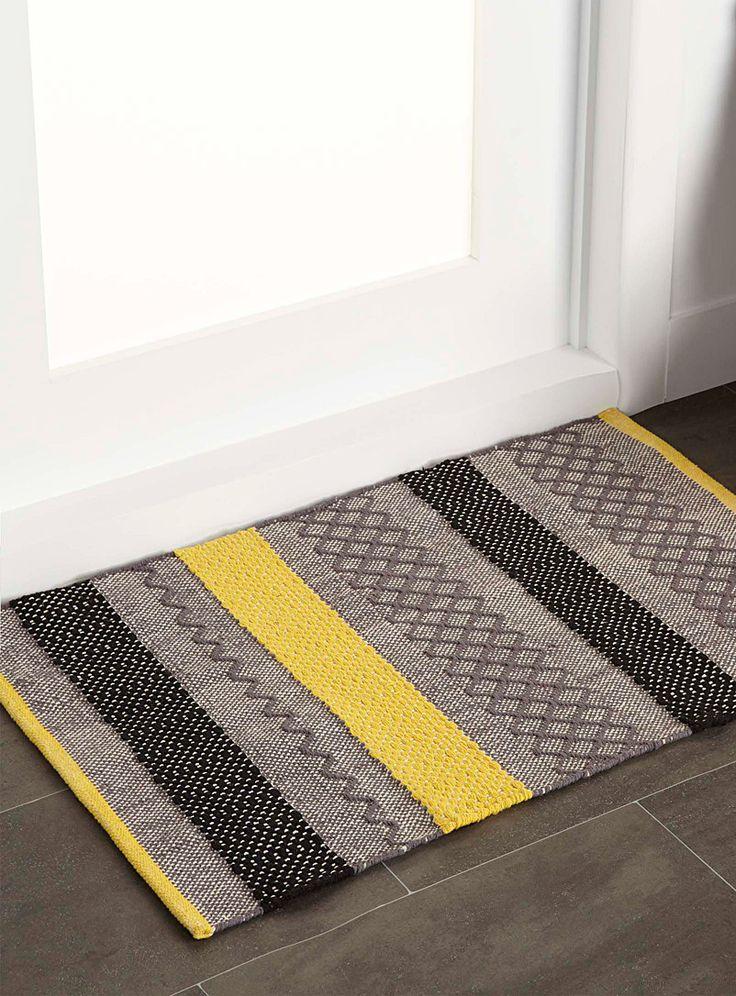 Graphic blocks entrance rug 60 x 90cm - Patterned - Medium Yellow