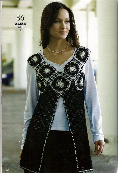 Tunica-decote quadrado Vest Crochet Pattern - Crochet Patterns