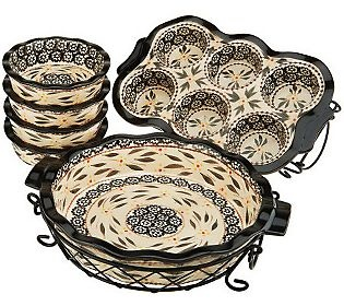 Temp-tations Old World or Floral Lace 8-pc. Ceramic Baking Set — QVC.com