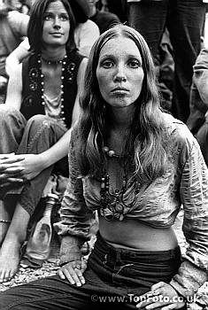 Woodstock Festival '69. Bethel, New York ©Tom - The Women of Woodstock  The dawning of the Age of Aquarius in the late sixties was more than a musical orgy. Hippies, with their spirit of protest and we-can-do-anything energy, helped usher in a new generation of free-thinking, independent-minded women. Goodbye, white gloves; hello, jeans! - Amy Spencer
