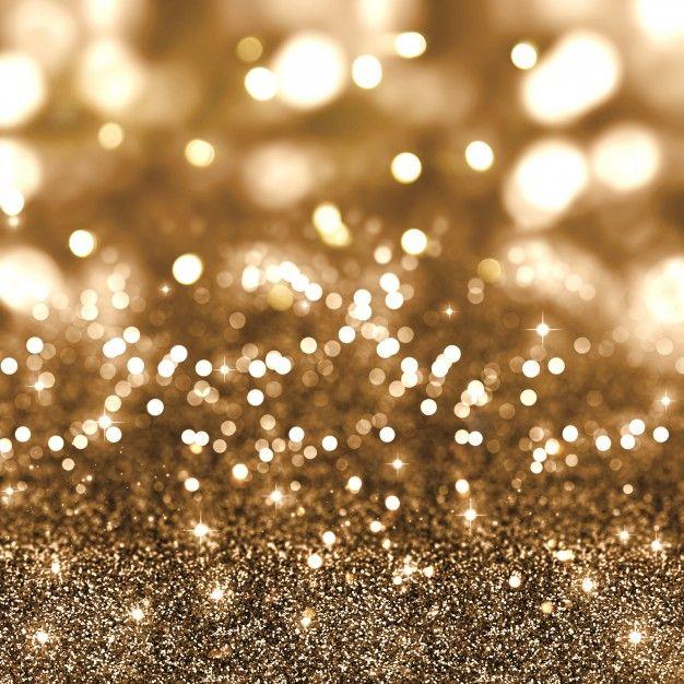 Fondo de brillo dorado con estrellas y luces bokeh Foto Gratis