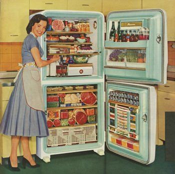 I'd like to make myself a vintage kitchen and put pictures like this all over it