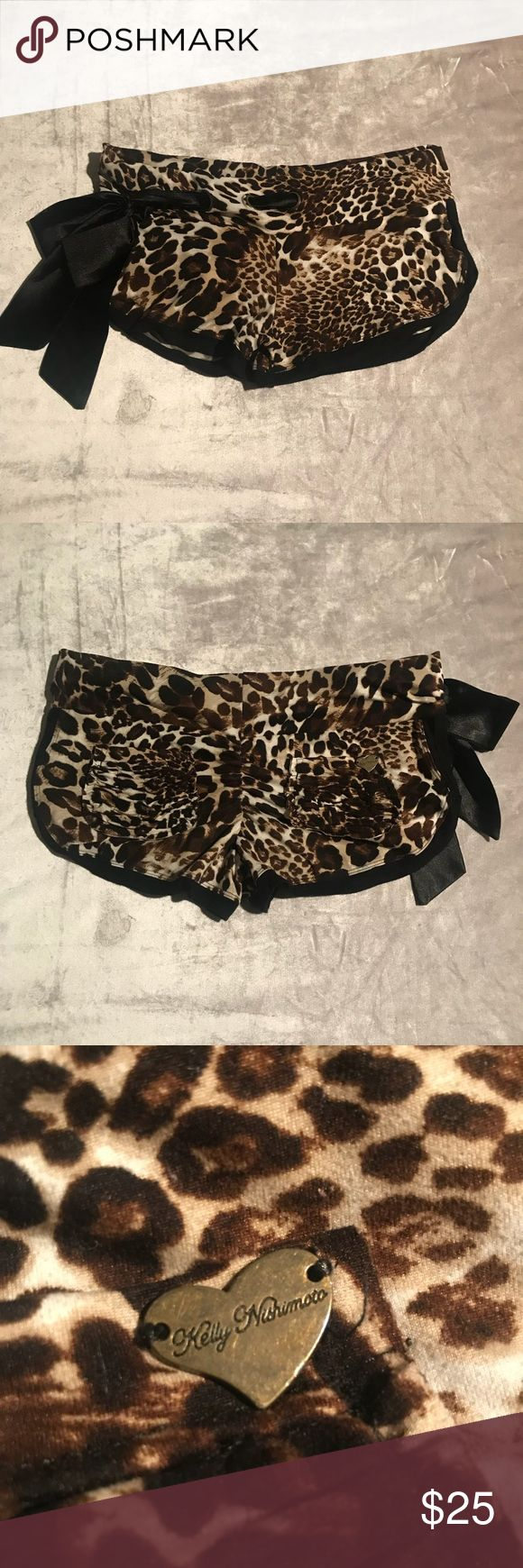 Cute Booty Lounge Leopard Shorts Leopard print cute Booty shorts with scrunch booty and satin tie. In great condition with no apparent flaws. cute booty lounge Shorts