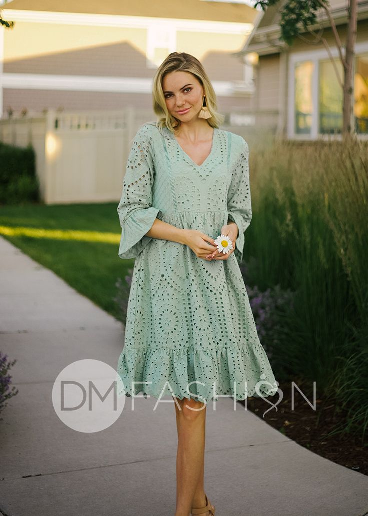 f6b7a3a6144 DELIA - Sage Eyelet Floral Embroidery Dress in 2019