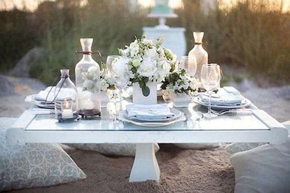 Outdoor Elegant White Chic Summer Table Setting Centerpiece At The Beach  For weddings or any special occassion