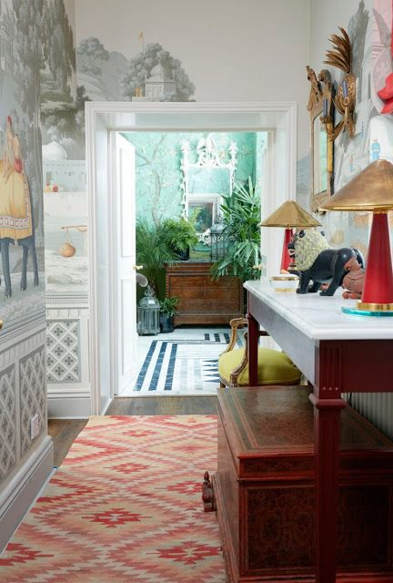 Rooms with rugs, chinoiserie, The Glam Pad: Hannah Cecil Gurney's London Apartment