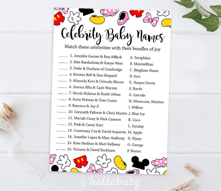 Celebrities Baby Names Baby Shower Game - Disney Theme Baby Shower Games - Disney Baby Shower - Gender Neutral Baby Shower - 005 by ohellobaby on Etsy https://www.etsy.com/listing/276381876/celebrities-baby-names-baby-shower-game
