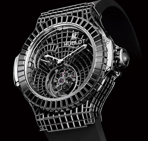 This is the Hublot Black Caviar. 34.5 karats, 18K white gold with a total of 529 diamonds over its surface! The cost is about $1,000,000!
