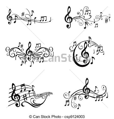 Vector - Set of Musical Notes Illustration - in vector - stock illustration, royalty free illustrations, stock clip art icon, stock clipart icons, logo, line art, EPS picture, pictures, graphic, graphics, drawing, drawings, vector image, artwork, EPS vector art