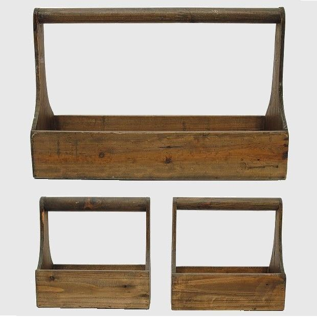Large Wooden Planter Caddies, Set of 3
