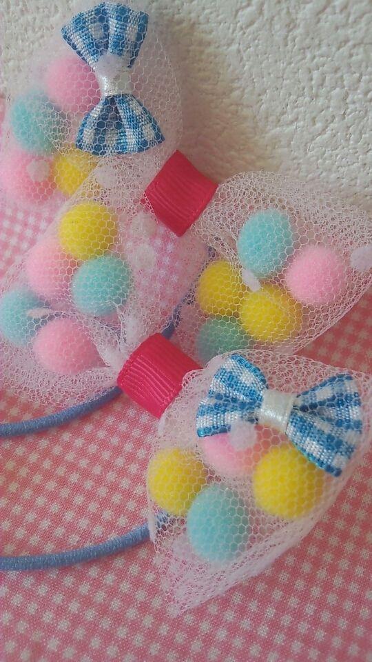 チュール&ポンポンのヘアリボン by pachipachi-candy ベビー