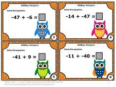 FREE Integers: Here are six free integer task cards. Students must practice adding positive and negative numbers. Scavenger hunt directions, along with other games ideas, are provided. A student response form and answer key are also provided. Task cards are a wonderful alternative to worksheets. Try them out with this freebie!  CCSS.MATH.CONTENT.7.NS.A.1