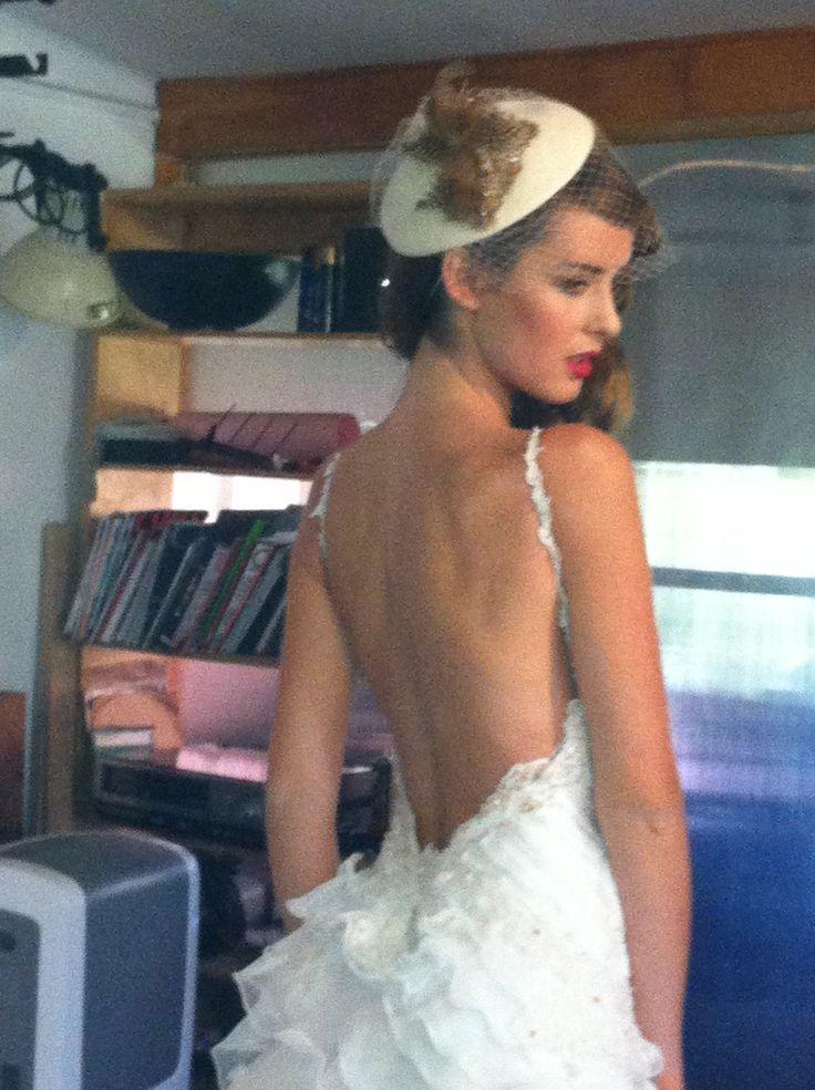 Vestido de novia en gasa  con drapeado en cuerpo