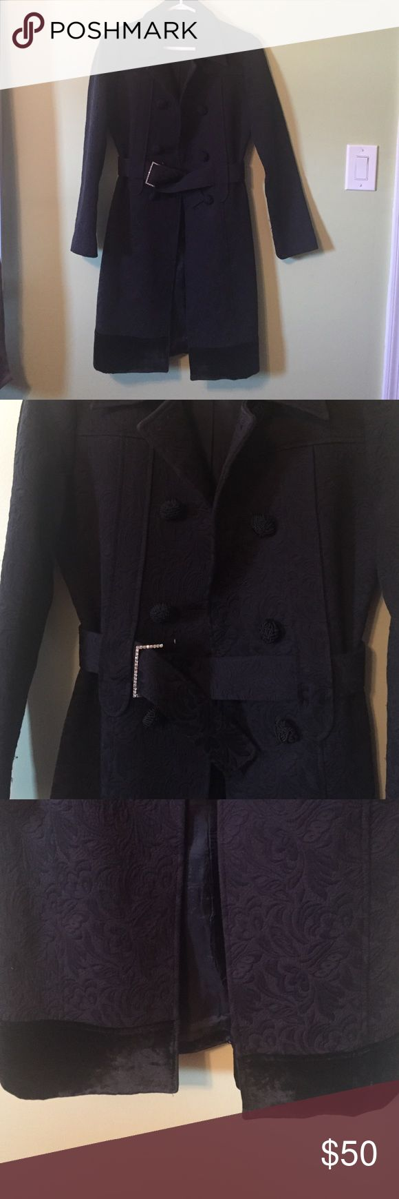 Arden B black coat Barely worn! Super adorable black coat with fun button detail, sparkly belt holder and velvet like material on bottom. Size S. Arden B Jackets & Coats