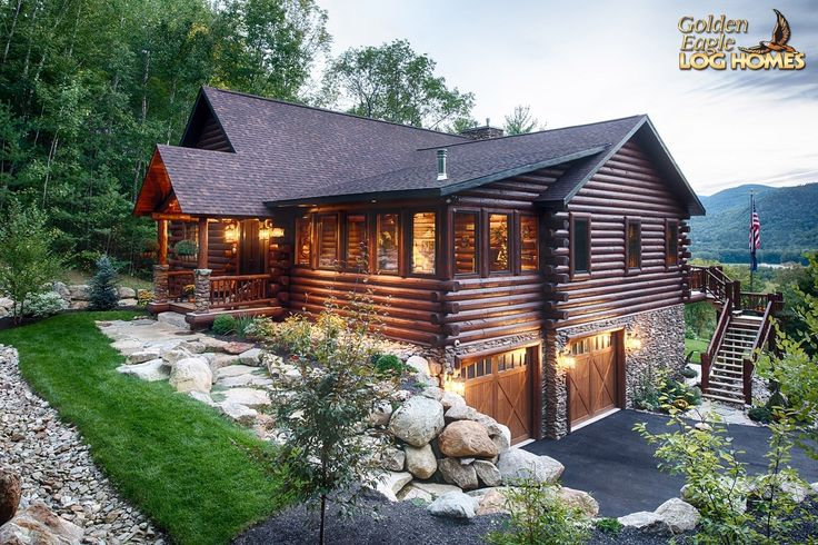 Log Home By Golden Eagle Log Homes - Frong & Side of Home