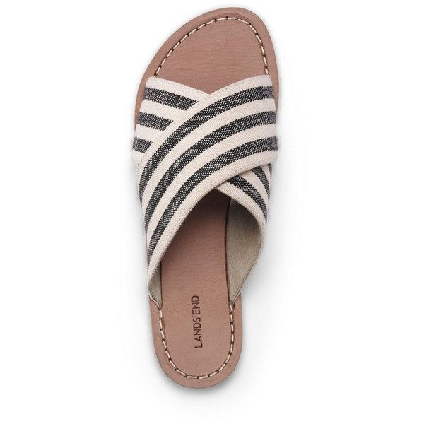 Lands' End Women's Cross Band Sandals found on Polyvore featuring shoes, sandals, zapatos, slip on sandals, pull on shoes, slip-on shoes, beach sandals and beach footwear