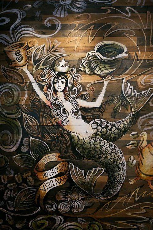 starbucks original mermaid | ... wall of the first Starbucks store in Vietnam [Opened Feb 1, 2013
