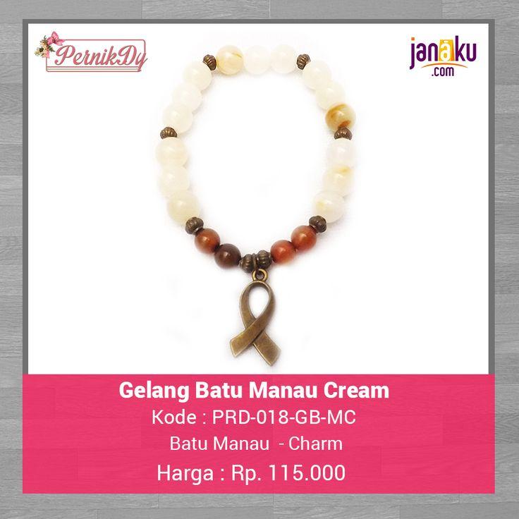 Gelang Batu Manau Cream -  Pernikdy -  IDR 115.000 - Batu Manau 88 mm dengan charm cantik  Lingkar 17 cm