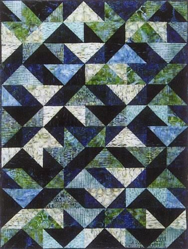 Designs to Share with You quilt pattern - Blue Lagoon - designed by Ursula Riegel  You will enjoy the contemporary time-saving construction process.  No initial triangles to be cut! No bias seams to be sewn! You will only work with squares. The same amount of fabrics will make a lap